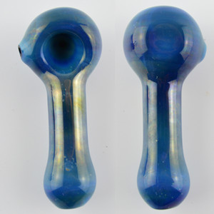 """Rainbow Oil Burner Pipe 4"""" inch Blue Hand Tobacco Smoking Glass Pipe High Quality Elegant Coroled Swril Bowl Dad Spoon Pipes"""