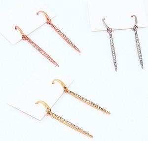 Silber / Gold / Rose Gold überzogen Sperrtaste Voll Tonrhinestone Herz-Art-Logo Lange Leuchter Marke Ohrringe geben Verschiffen