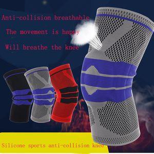 Joelho 1PCS Primavera Brace Silicone Pad Basketball malha de compressão do joelho luva Suporte Sports respirável Sock Proetctor