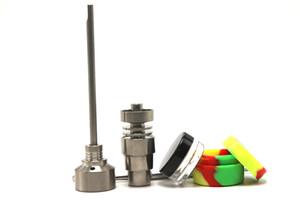 2017 Domeless GR2 Titanium ногтей с Titanium Nail New Glass Bong набор инструментов Carb Cap Dabber Инструмент Slicone Jar Dab Контейнер Бесплатная доставка