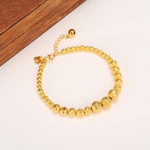 17 cm + 4 cm Alargar Bola Brazalete Mujeres 14 k Real Sólido Oro Amarillo Cuentas Redondas Pulseras Joyería Cadena de Mano corazón tapizado