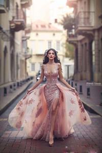 Sirena sexy Lado dividir vestidos de noche sin espalda escote profundo apliques de encaje Medio Oriente vestidos de baile con tren desmontable vestido formal