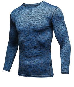 Nuevo traje de fitness masculino manga larga velocidad seco compresión elástica ropa deportiva baloncesto corriendo deportes medias
