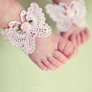 New fashion Children's Handmade Shose with Flowers feet flowers headband sets baby shoes baby anklets