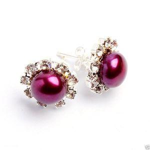 Fashion 8-8.5mm Fuchsia Akoya Freshwater Pearl Rhinestone Stud 2pc Earrings