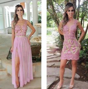 Sale Sheath Prom Gowns 분리 가능한 스커트 얇은 쥬얼 넥 저녁 댄스 파티 드레스 레이스 아플리케 크리스탈 온라인 2017 가을