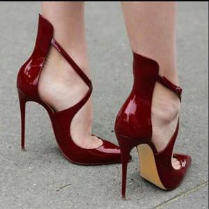 2017 Yeni Varış Marka Yüksek Topuklu Sandalet Kadınlar 12 cm Sivri Seksi Moda Çapraz Cut-çıkışları Ayakkabı Toka Yüksek topuklu Sandalet Boyutu 34-45