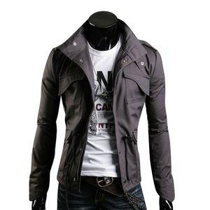 Design Printemps Hommes Veste Stand Col Personnalité Basic Vestes Hommes Casual Slim Type Manteau Hombre Invierno Poches Outwears Vêtements