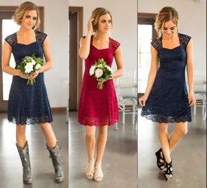 2017 Navy Blue Burgundy Country Full Lace Short Bridesmaid DressesFor Weddings Cap Sleeves Open Back Plus Size Formal Maid of Honor Gowns