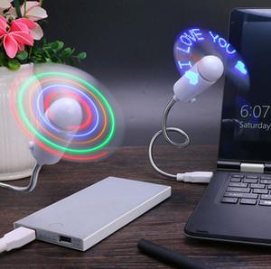 휴대용 미니 Bendable 유연한 USB 팬 컴퓨터 노트북 PC 다채로운 LED 빛 휴대용 퍼스널 컴퓨터 탁상용 PC 컴퓨터 EOO