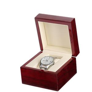 Venta al por menor / al por mayor Square Wood Clamshell Box Jewelry Watch laca brillante caja de reloj de madera personalizada Logo Promotion Event caja 11x11x8cm