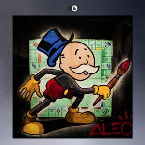 Peint à la main moderne bande dessinée Graffiti Pop Art conseil de peinture à l'huile de Alec Monopoly art urbain Sur Toile Accueil Wall Decor taille peut personnalisé