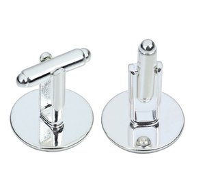 Il trasporto libero, alta qualità di 16mm rotondo gemelli placcati oro bianco in bianco k / base trovato gioielli