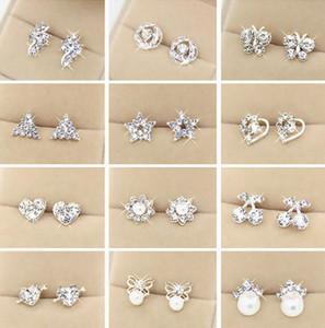 Special offer Top Quality Random Styles 925 Sterling Silver Rhinestones Stud Earrings Fashion Jewelry For Women Wedding Pearl Earrings Gift