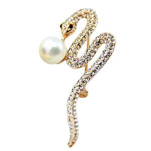 Nueva venta caliente de la serpiente broche de la bufanda de los pernos de diamante brillante broche para las mujeres Shell Pearl Broches joyería del partido regalos de Navidad