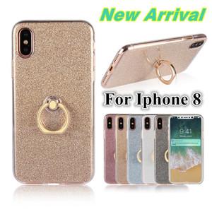 Brilhante fino claro macio tpu case + voltar gliter bling para iphone 8 s6 s6edge celular capa case com suporte suporte para samsung s8 plus i8