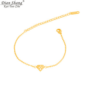 Atacado-DIANSHANGKAITUOZHE 2016 prata moda jóias de aço inoxidável cadeias de mão em forma de cone de ouro 18k mulheres pulseiras presente da dama de honra
