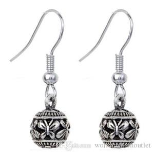 Retro Liga Borboleta Esculpido Brinco Gancho Das Mulheres Ear Stud Único Tibetano Prata Esculpida Jóias Brinco Ear Ear Ring Accesso