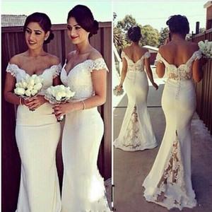 Zarif Kapalı Omuz Dantel Mermaid Gelinlik Modelleri Düğün Için 2016 Örgün Parti Törenlerinde Ucuz Onur Hizmetçi Elbiseler Custom Made