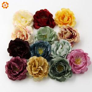 Al por mayor-10PCS de alta calidad de DIY cabeza de flor de seda artificial para el hogar decoración de la boda guirnalda caja de regalo Scrapbooking falsas flores