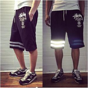 Moda Marca dos homens Casuais Calções Pretos Verão Na Altura Do Joelho Calções de Algodão Calças Adolescente Streetwear Calções Soltos Desgaste Do Esporte de Basquete