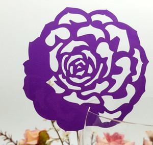 50 pz / lotto fai da te segnaposto rose flower tazza di vetro vino personalizzato wedding nome carte laser cut carta perlato carta di nozze forniture festa di compleanno