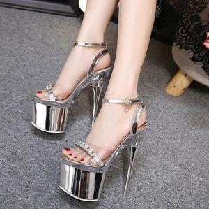 Размер 34-43 мода стальной трубки танцевальная обувь женщины лето новый высокий каблук платформы Peep Toe сандалии 18 см толстым дном водонепроницаемый ночной клуб обуви