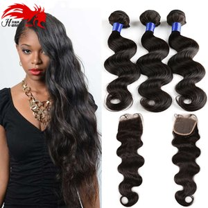 7A Brazilian Virgin Hair With Closure 4 Bundles Body Wave With Closure Soft And Cheap Brazillian Body Wave Hair With Closure