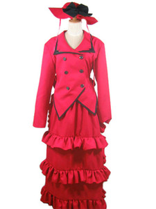 Kukucos Anime Halloween Party Dress Black Butler Kuroshitsuji Madam Red Angelina Dalles Cosplay Costume Outfits Set