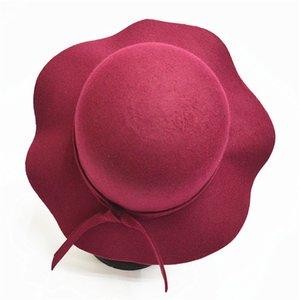 Sonbahar Kış Şapkalar Çocuk Kız Yumuşak Vintage Yün Keçe Bowler Fedoras Katı Disket Cloche Geniş Ağız Şapka Çocuklar için Caps