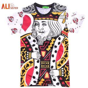Style d'été Hip Hop T Shirt Hommes / femmes Cartes À Jouer Imprimer 3d T Shirt Harajuku Vêtements Camisa Masculina Taille King Poker Shirt 17310