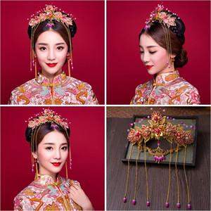 Mujer tocado pelo Lomen traje novia tocado rosa con flecos retro chino Coronet Xiuhe accesorios de ropa 6210801