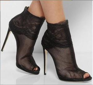 2017 yeni varış peep toe bileği çizmeler ince topuk siyah dantel patik mujer tekneler hava mesh yüksek topuk çizmeler