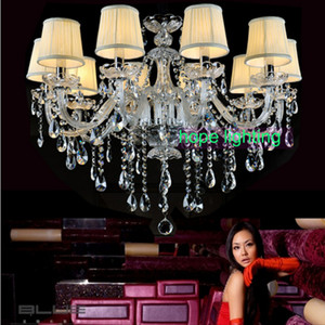 Araña de cristal europea lámparas de moda led lámpara de araña de la sala de estar con pantalla araña moderna para lámparas colgantes dormitorio