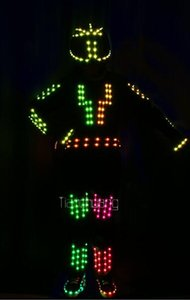 RGB robot LED costumes Full color colorful light clothe wears ballroom programmable dj suit performance