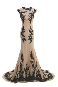 2020 New Nude and Black Lace Long Mermaid Evening Dresses High Neck Cap Sleeve Floor Length Bridal Gowns Top Selling