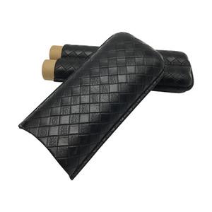Cohiba Gadgets Nouveau support en cuir noir 2 Tube Travel Cigare Humidificateur Portable Voyage Cigars Humidor