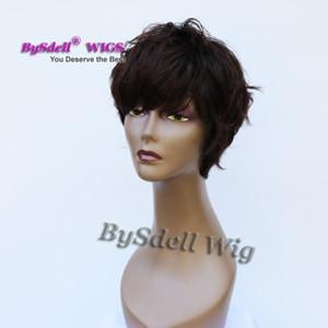 Yeni Afro-amerikan kadınlar kısa Saç Peruk Sentetik Blaco veya Koyu Kahverengi renk peruk, Peri Kesim kısa Kıvırcık saç Tam peruk için Erkek Peruca