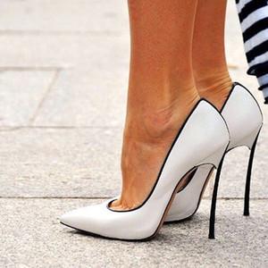 Mulheres Sexy Estiletes Heel Bombas Lâminas de Lâmina Metálica Quadra Sapatos Mulher Apontou Toe Estilo Chaussure Femme Deslizamento Em Sapatas Das Mulheres