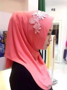 donne pizzo musulmano hijab stampato scialli istantanei jersey sciarpa modale amira slip on sciarpe avvolge la fascia per donna può scegliere il colore 77