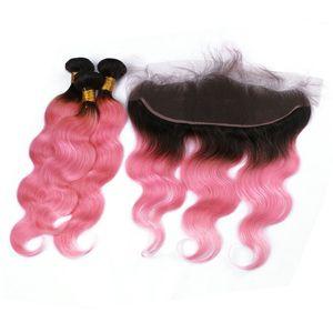 Темные корни розовый Ombre уха до уха 13x4 кружева фронтальная с ткет объемная волна Малайзии человеческих волос 1B / розовый Ombre 3Bundles с фронтальной