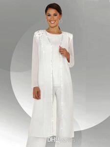 Beyaz Şifon Uzun Kollu anne Gelin Pantolon Takım Elbise Uzun Bluz Sequins Boncuklu anne Damat Pant Suit BA3961 ile