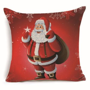 Christmas Square Cushion Cover Pillow Case Santa Claus Decorative Sofa Bed Car Decoration Ornament Home Decor Gift Pillowcase Sofa Flax