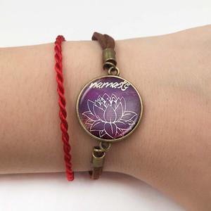 Dini Takı Mandala Lotus Bilezik Cam cabochon OM sembolü Budizm