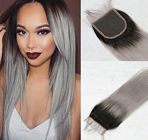 "4x4 ""Mongolian Lace Closure Straight 1B Grey Lace Top Closure Silver Ombre Mongolian 1b / Grey Hair Closure"