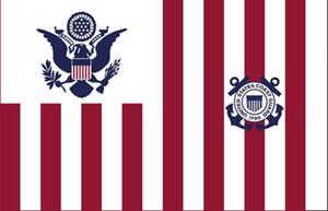 USA Garde côtière Ensign Drapeau 3ft x 5 pi Polyester Flying Banner 150 * 90cm extérieur de drapeau personnalisé