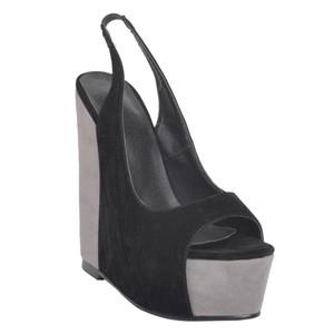 Zandina Wholesale Womens Fashion Handmade 15 cm Wadge Heel Slingback Partido Peep-toe Bombas de noche Zapatos Negro XD185