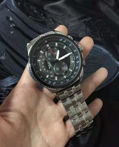 горячие продать новый EF-558D-1AV мужские часы хронограф Спорт 558D из нержавеющей стали мужские черный циферблат наручные часы EF-558D-1A + оригинальный футляр