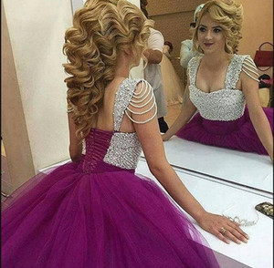 Cristal de luxe Purple Orange Quinceanera Robes 2017 Perles Manches Robe De Bal Princesse Quinceanera Robe Douce 16 Robes Plus La Taille