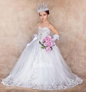 2019 nuevo lujo muchachas de flor vestidos para bodas de novia apliques de cristal Real Fotos Primera Comunión partido del desfile de las muchachas del vestido de los vestidos